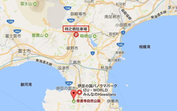 修善寺〜時之栖の地図
