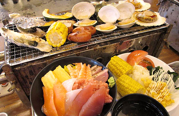 道楽園「海鮮浜焼き」と海鮮丼