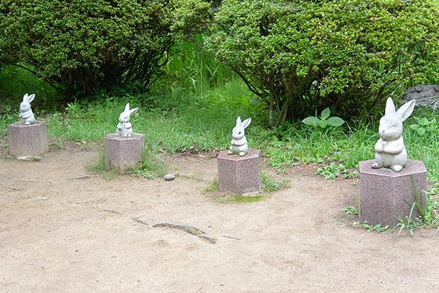 縁結びの碑の前のウサギ